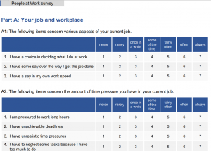 People at work - Survey risk assessment on psycho-social risks in the workplace